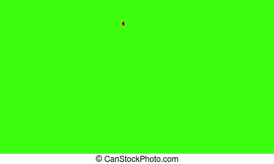 Blood Dripping Down Over Green Background with Green Screen....