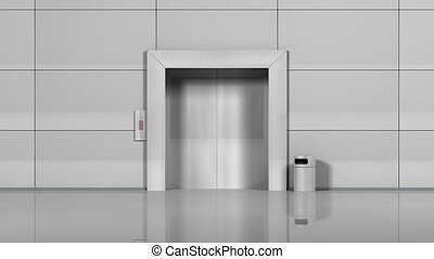 quot;Realistic chrome metal office building elevator opens...