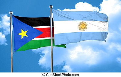 south sudan flag with Argentine flag, 3D rendering