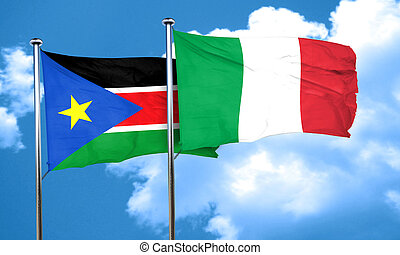 south sudan flag with Italy flag, 3D rendering