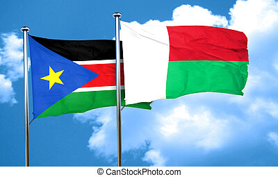 south sudan flag with Madagascar flag, 3D rendering