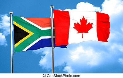 South africa flag with Canada flag, 3D rendering