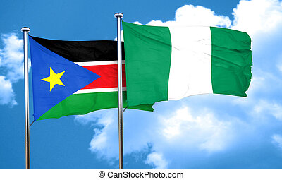 south sudan flag with Nigeria flag, 3D rendering