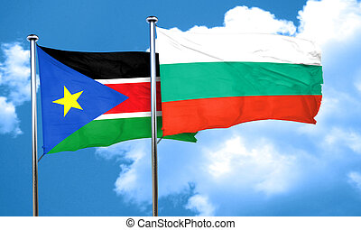 south sudan flag with Bulgaria flag, 3D rendering