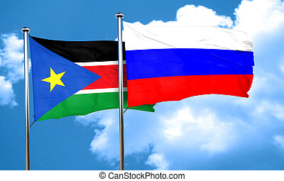 south sudan flag with Russia flag, 3D rendering