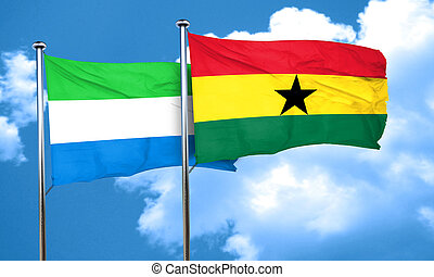 Sierra Leone flag with Ghana flag, 3D rendering