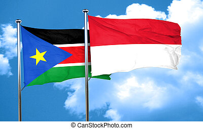 south sudan flag with Indonesia flag, 3D rendering