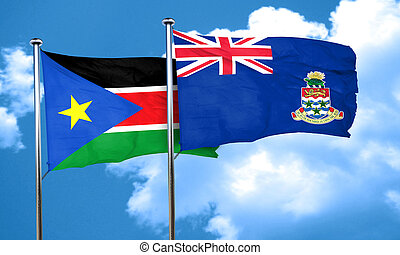 south sudan flag with Cayman islands flag, 3D rendering