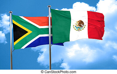 South africa flag with Mexico flag, 3D rendering