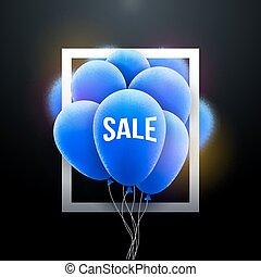 Vector Sale balloons promotional poster frame. Market shop advertising background