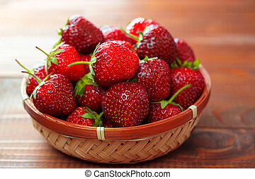 Very beautiful background with fresh strawberries in a...