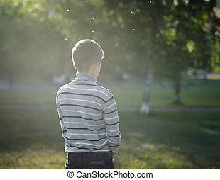 lonely boy teenager standing lit by the sun in Park and flying gnats