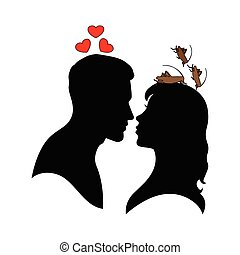 Silhouette of man and woman.