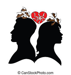 Silhouette of man and woman. - Psychology of relations....