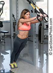 Trx Straps Training - Attractive Woman Does Crossfit Push...