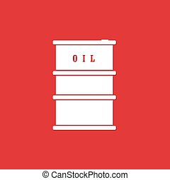 oil barrel white illustration on red