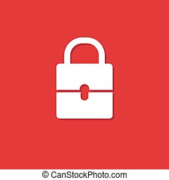 padlock white illustration on red background