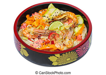 tagliatelle pasta with sea food in black bowl isolated on...