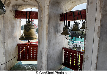The bells in the bell tower in St Nicholas monastery,...