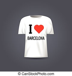 Vector t-shirt template with design I Love Barcelona