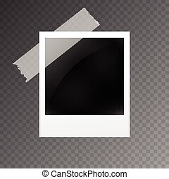 Realistic photo frame with Scotch Tape on transparent background, isolated