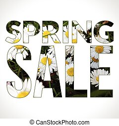 Spring Sale typography composition. Vector promotional background