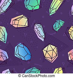 Crystal seamless pattern in 80s holographic style - Modern...