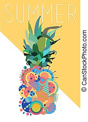 Colorful summer pineapple geometric modern design
