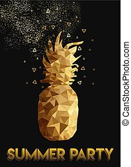 Gold low poly pineapple design for summer party - Retro...