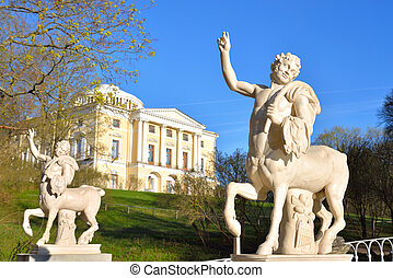 Centaurs statues in Pavlovsk Park - Centaurs statues and...