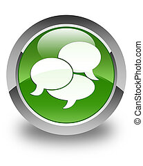 Comments icon glossy soft green round button