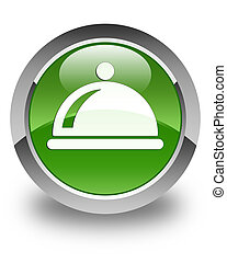 Food dish icon glossy soft green round button