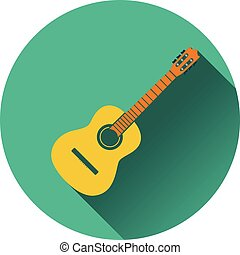 Icon of acoustic guitar Flat design Vector illustration