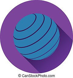 Icon of Fitness rubber ball. Flat design. Vector...