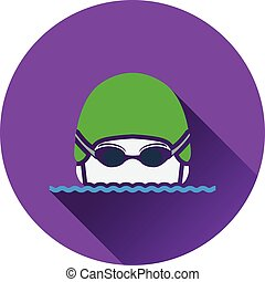 Icon of Swimming man head with goggles and cap . Flat...