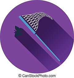 Icon of butterfly net. Flat design. Vector illustration.