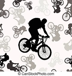 Vector seamless pattern with bikers silhouettes