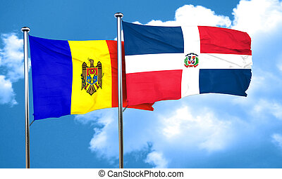 Moldova flag with Dominican Republic flag, 3D rendering