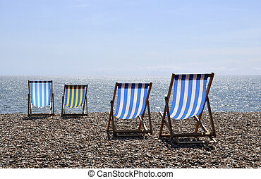 Deck chairs on Brighton beach - A nice sunny day on Brighton...