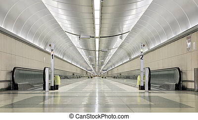 Endless corridor - An endless and futuristic corridor in a...