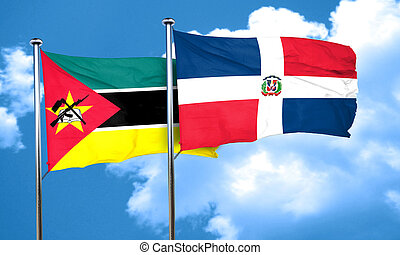 Mozambique flag with Dominican Republic flag, 3D rendering