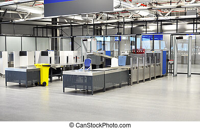 airport security - An airport passport and security counter...