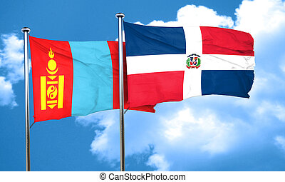 Mongolia flag with Dominican Republic flag, 3D rendering