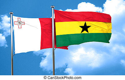 Malta flag with Ghana flag, 3D rendering