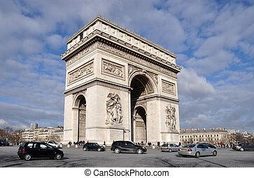 The Arc de triomphe in Paris - The famous Arc de triomphe in...