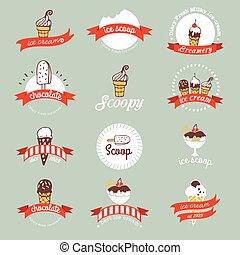 Vintage Retro Ice Cream Badges And Labels.