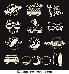 Surfer vector set. Vintage surf elements.