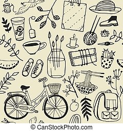 Summer good mood doodles set. Hand draw flowers, bicycle,...