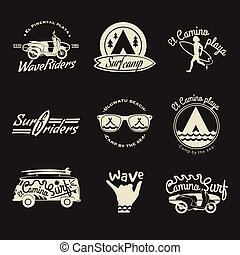 Surfer vector set. Beach life style. Vintage surf elements....