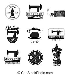 Set of vintage tailor labels, emblems and design elements....